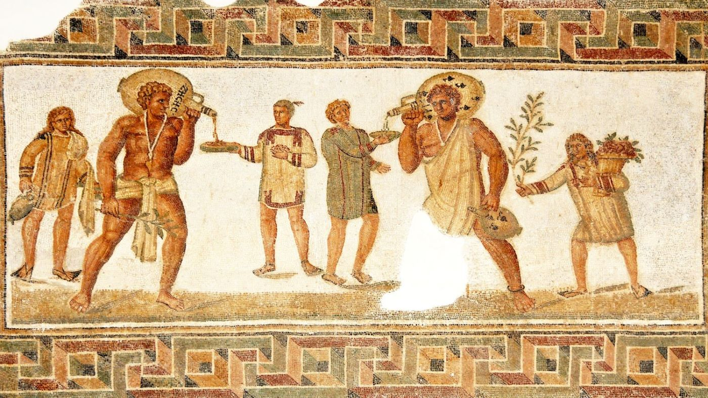 Mosaic of slaves serving at a banquet, Dougga, Tunisia
